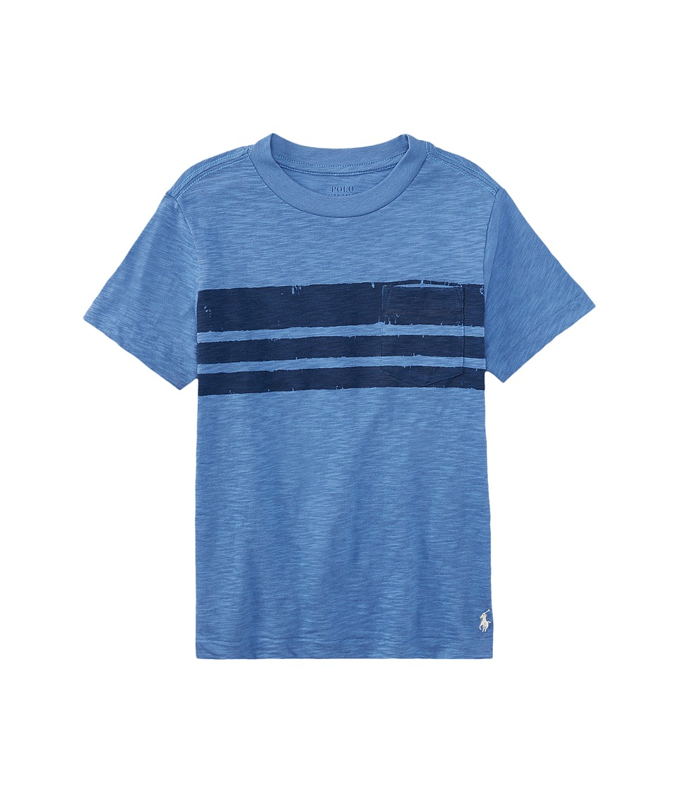 Polo Ralph Lauren Kids - Slub Jersey Stripe Tee (Big Kids) (Blue Water) Boy's T Shirt