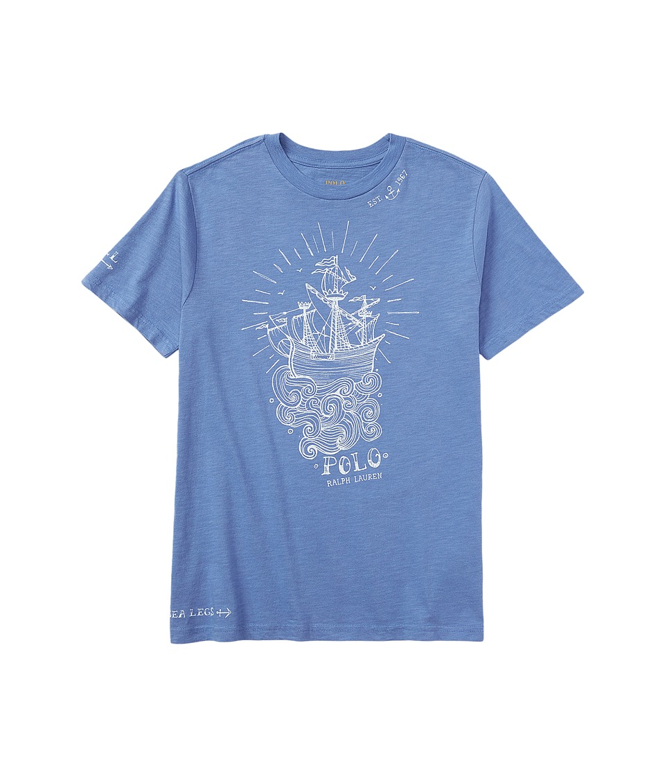 Polo Ralph Lauren Kids - Graphic Crew Neck T-Shirt (Big Kids) (Blue Water) Boy's T Shirt