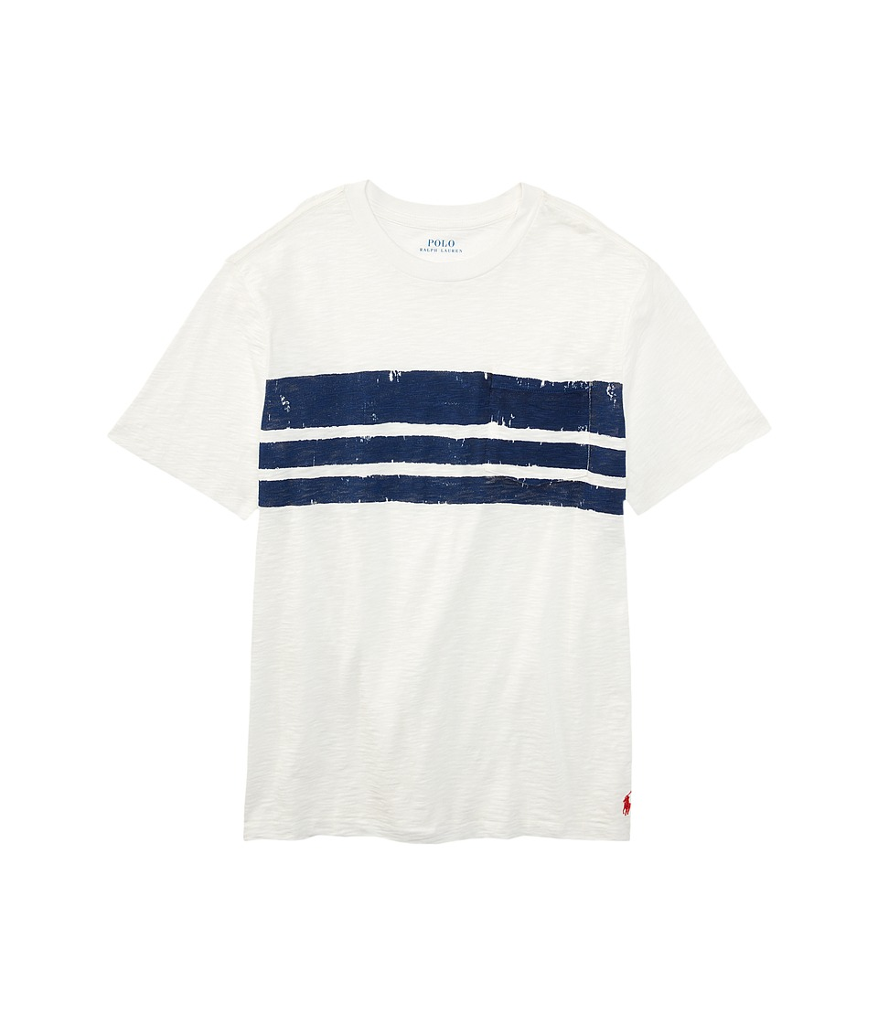 Polo Ralph Lauren Kids - Slub Jersey Stripe Tee (Big Kids) (Antique White) Boy's T Shirt