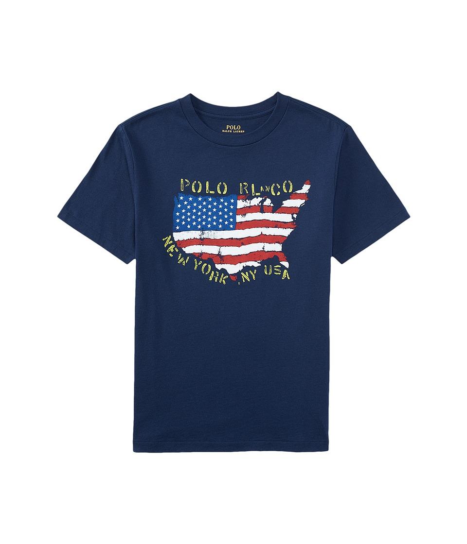 Polo Ralph Lauren Kids - 30/1 Graphic Tee (Big Kids) (Spring Navy) Boy's T Shirt