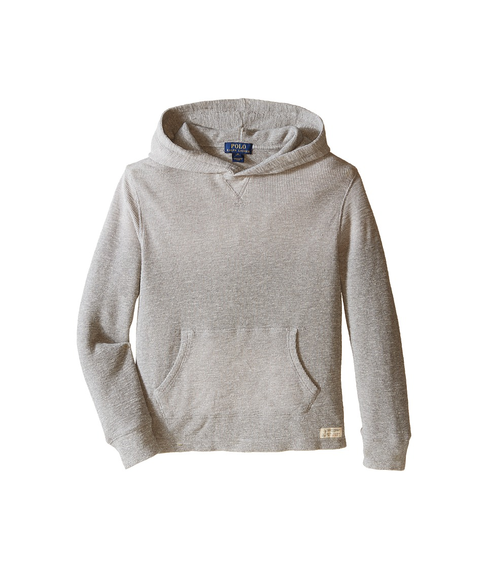 Polo Ralph Lauren Kids - Hooded Pullover (Big Kids) (Surfer Grey Heather) Boy's Long Sleeve Pullover