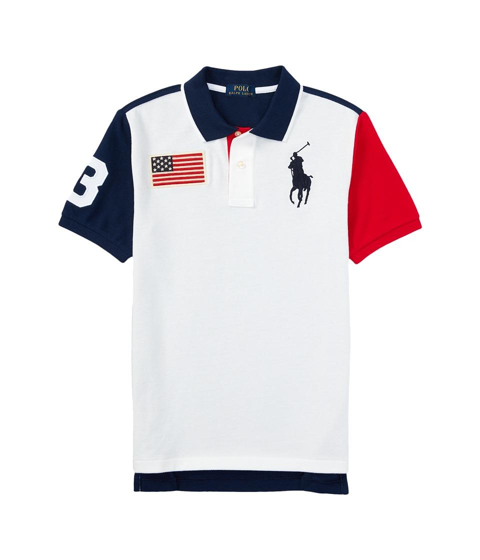 Polo Ralph Lauren Kids - Basic Flag Polo (Big Kids) (White) Boy's Short Sleeve Knit