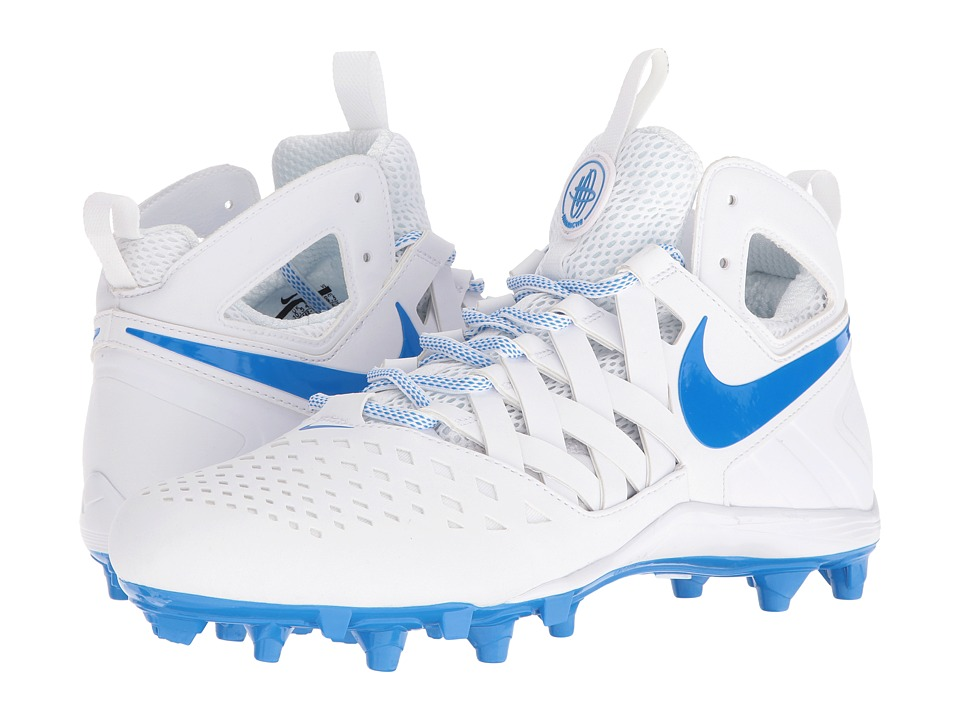 Nike - Huarache V Lax (White/Photo Blue) Men's Cleated Shoes