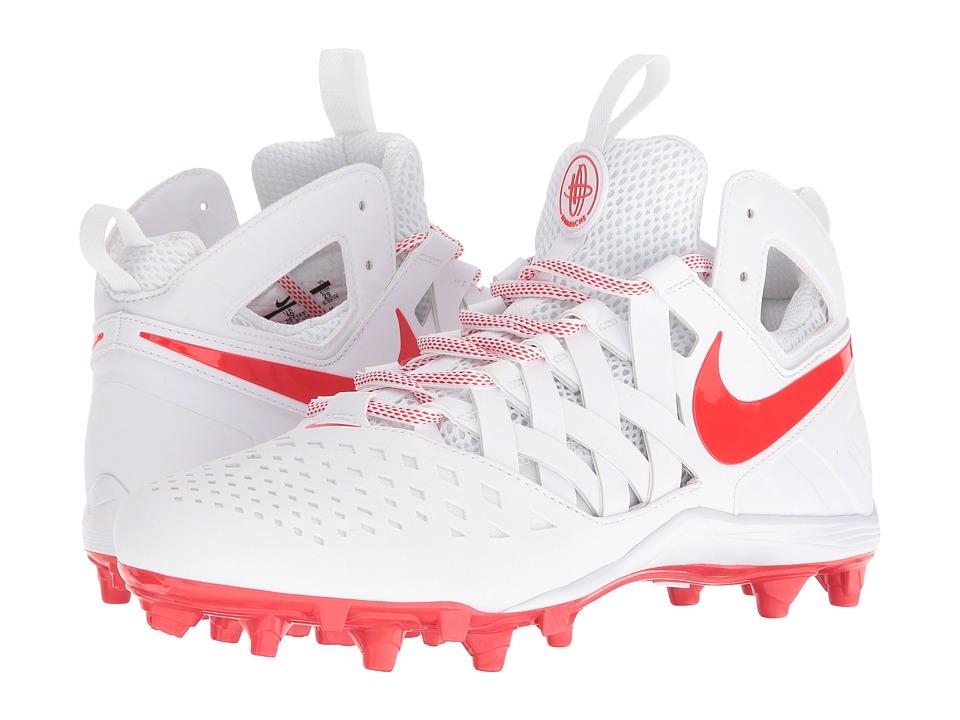Nike - Huarache V Lax (White/Light Crimson) Men's Cleated Shoes
