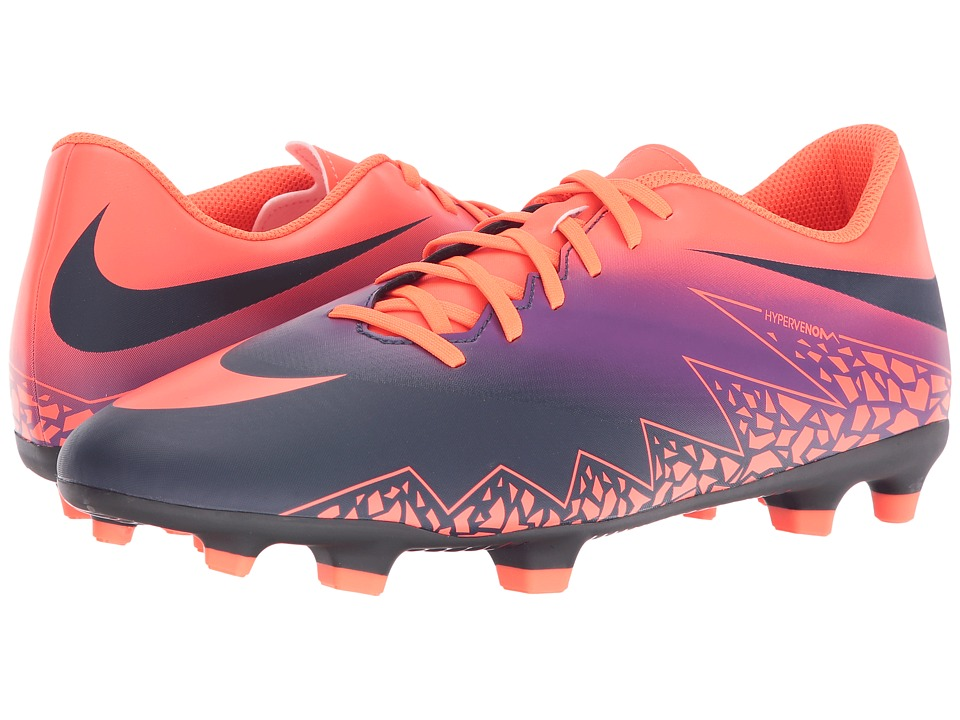Nike - Hypervenom Phade II FG (Total Crimson/Obsidian/Vivid Purple/Bright Crimson) Men's Soccer Shoes