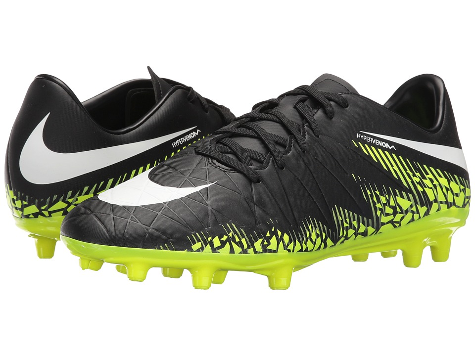 Nike - Hypervenom Phelon II FG (Black/White/Volt/Paramount Blue) Men's Soccer Shoes
