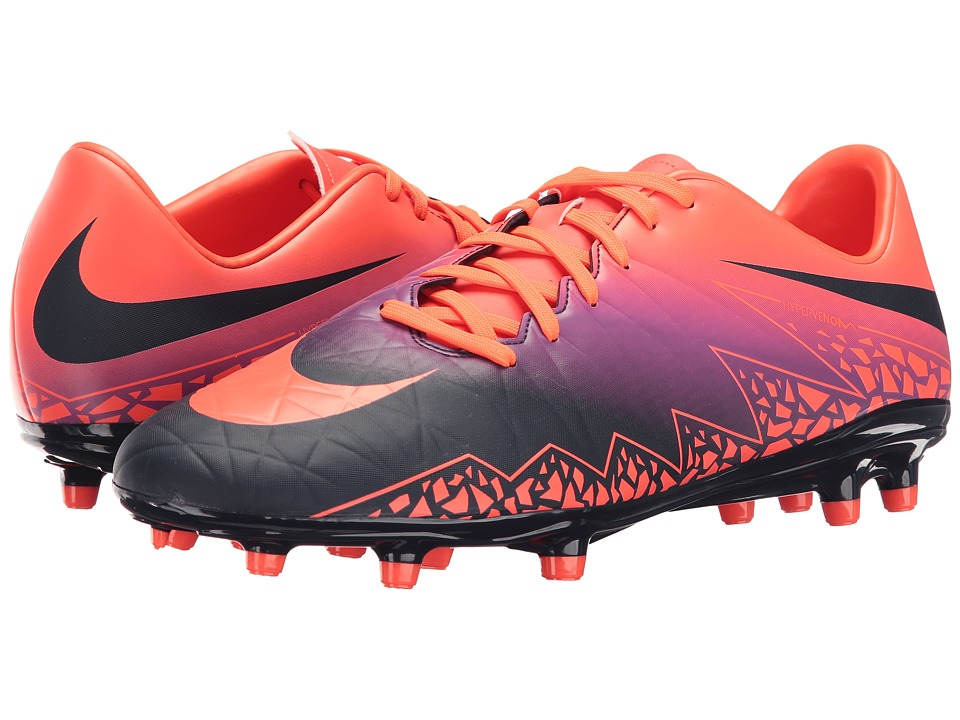 Nike - Hypervenom Phelon II FG (Total Crimson/Obsidian/Vivid Purple/Bright Crimson) Men's Soccer Shoes