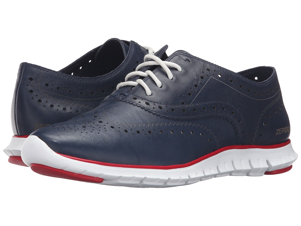 Cole Haan - Zerogrand Wing Oxford (Blazer Blue/Tango Red Leather) Women's Shoes