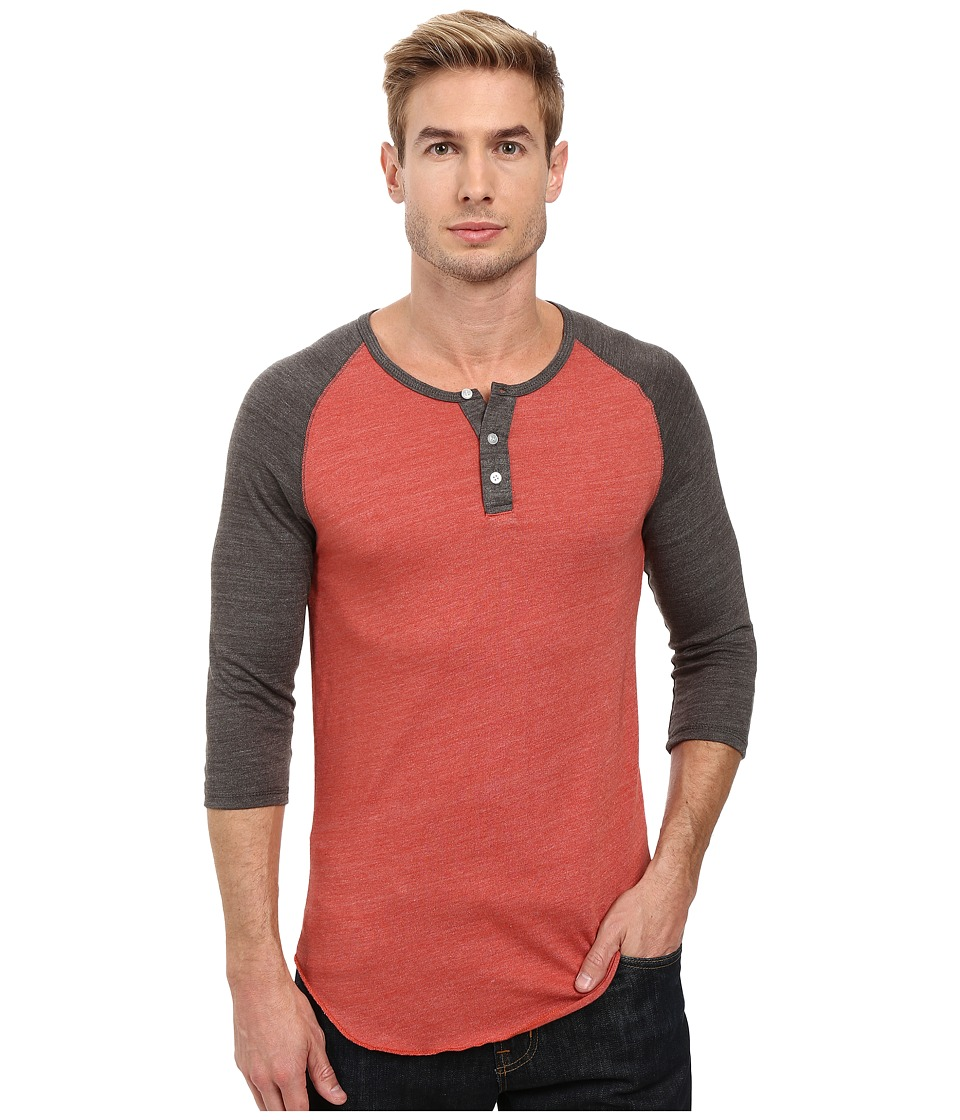 Alternative - 3/4 Raglan Henley (Eco True Marsala/Eco True Tarmac) Men's Long Sleeve Pullover