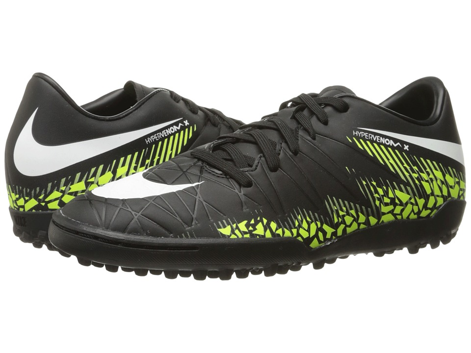 Nike - Hypervenom Phelon II TF (Black/White/Volt/Paramount Blue) Men's Soccer Shoes