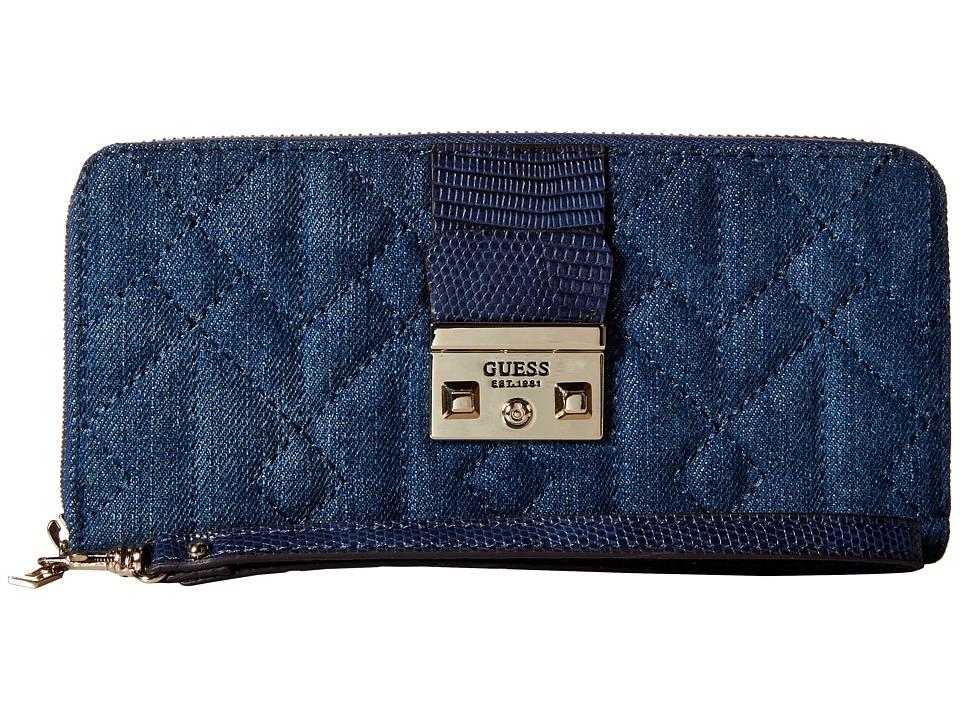 GUESS - Kalen SLG Large Zip Around (Denim) Handbags