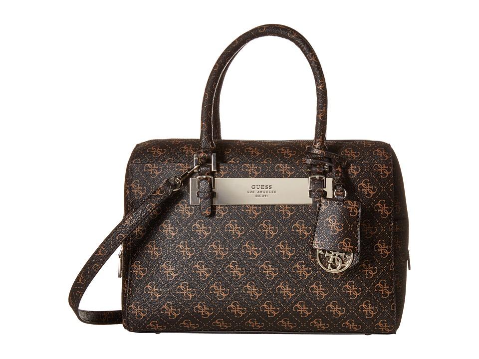 GUESS - Isla Box Satchel (Brown) Satchel Handbags