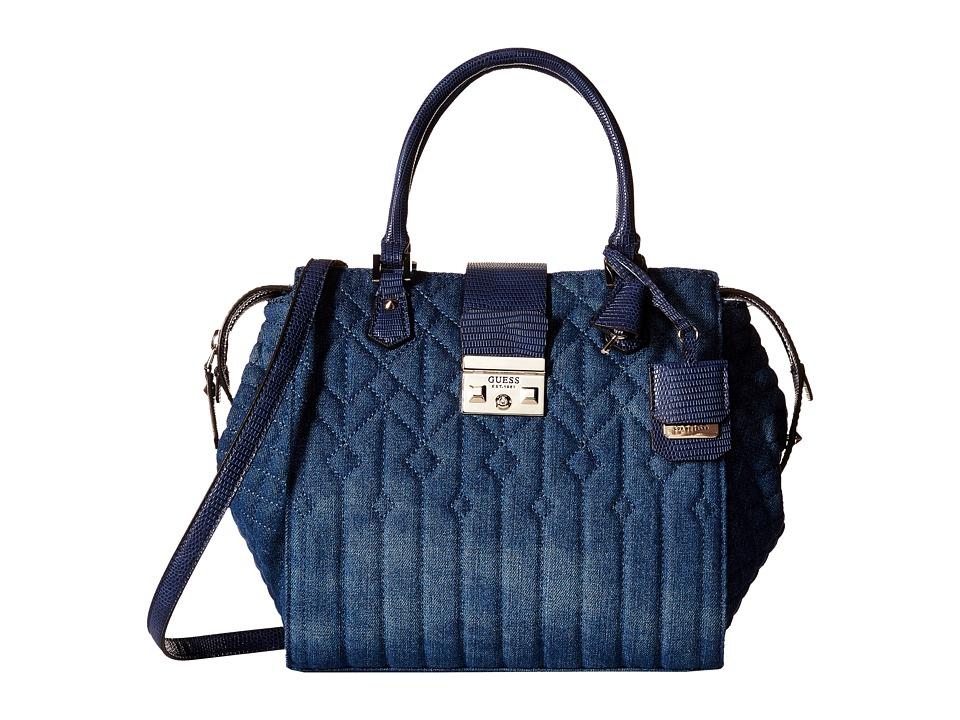 GUESS - Kalen Box Satchel (Denim) Satchel Handbags