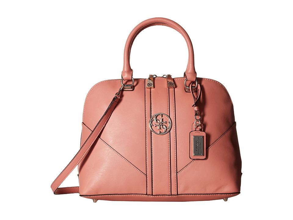 GUESS - Lena Large Dome Satchel (Coral) Satchel Handbags