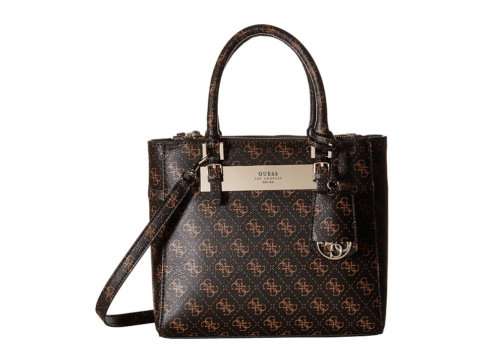 GUESS - Isla Small Status Satchel (Brown) Satchel Handbags