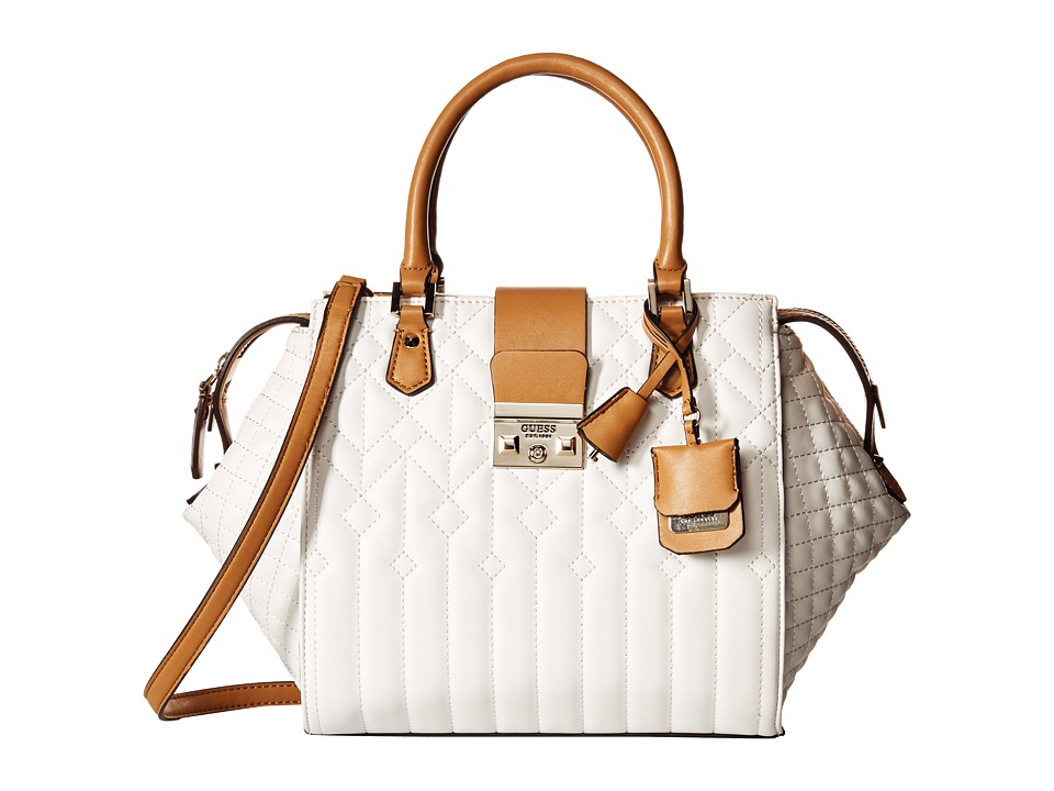 GUESS - Kalen Box Satchel (White Multi) Satchel Handbags