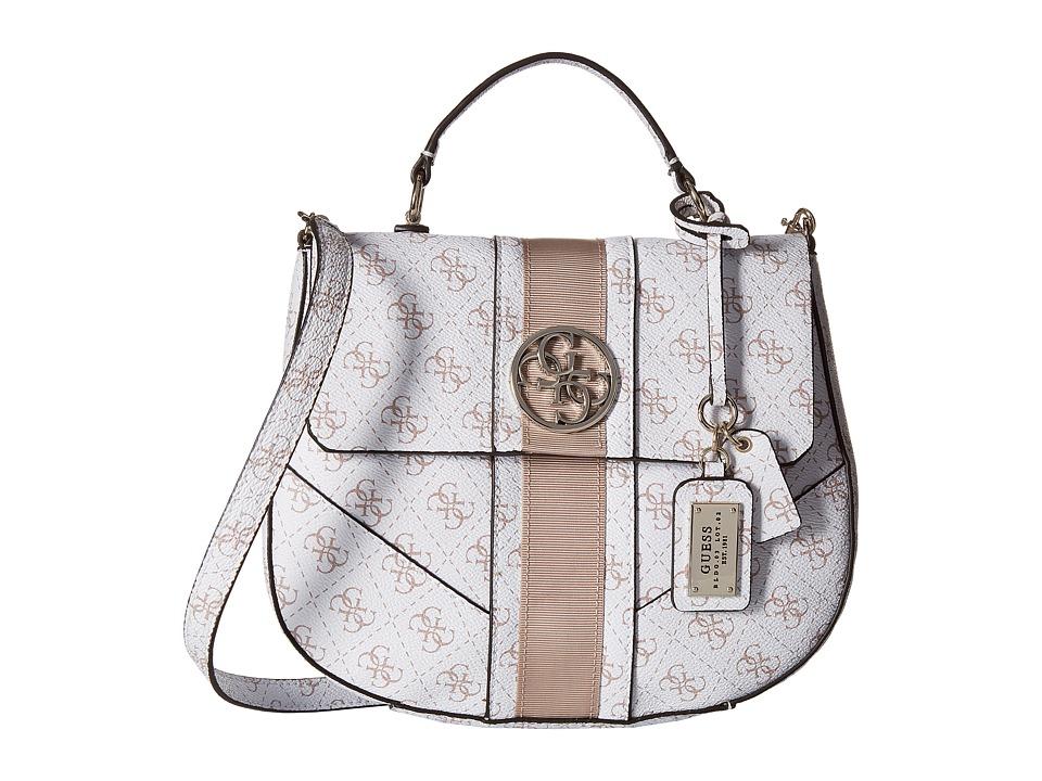 GUESS - Lena Top Handle Flap (White) Cross Body Handbags