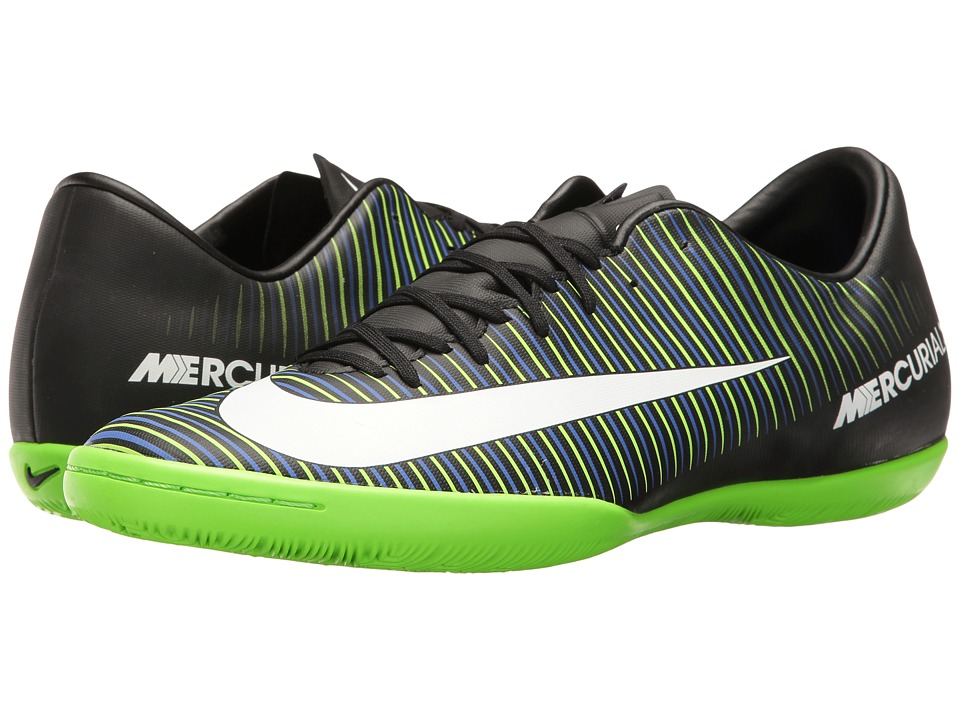 Nike - Mercurial Victory VI IC (Black/White/Electric Green/Paramount Blue) Men's Soccer Shoes