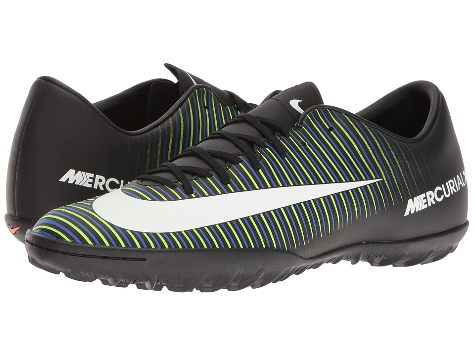 Nike - Mercurial Victory VI TF (Black/White/Electric Green/Paramount Blue) Men's Soccer Shoes