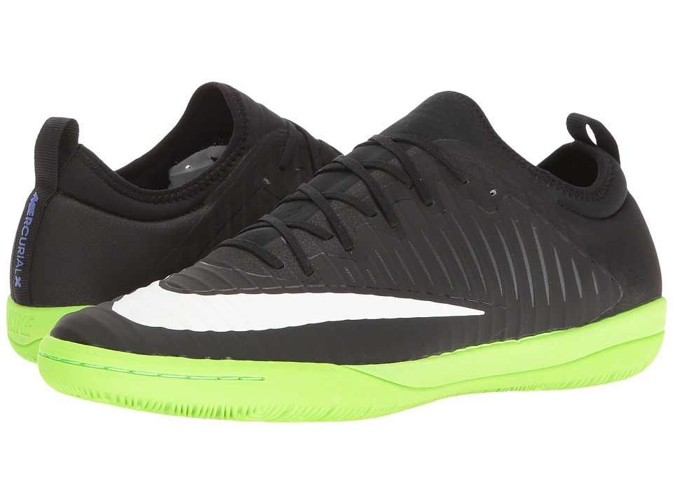Nike - MercurialX Finale II IC (Black/White/Electric Green/Anthracite) Men's Soccer Shoes