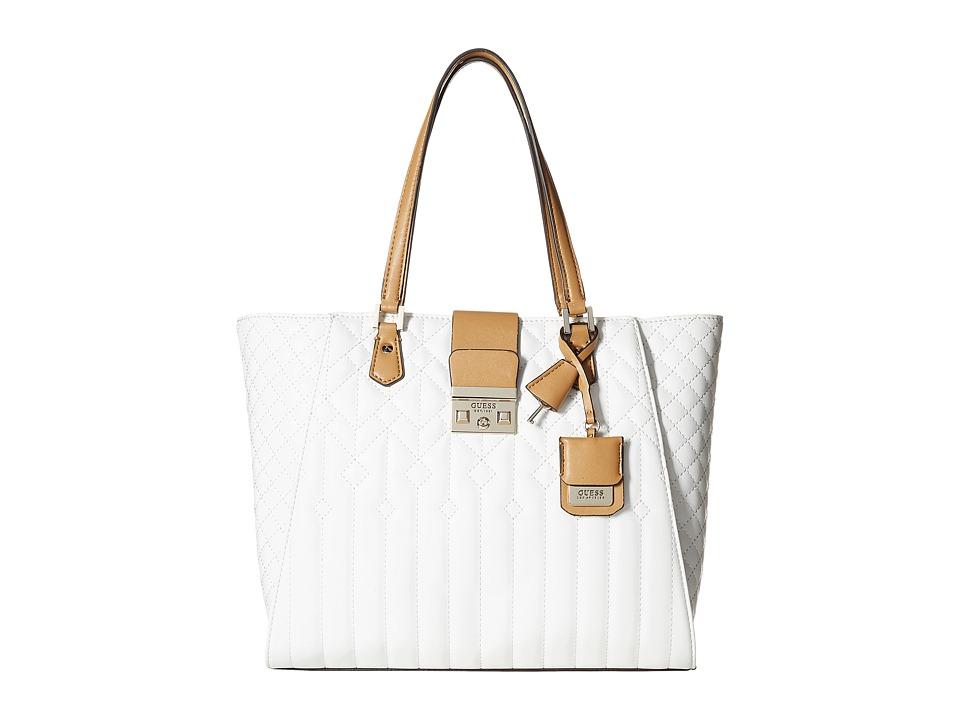 GUESS - Kalen Carryall (White Multi) Handbags