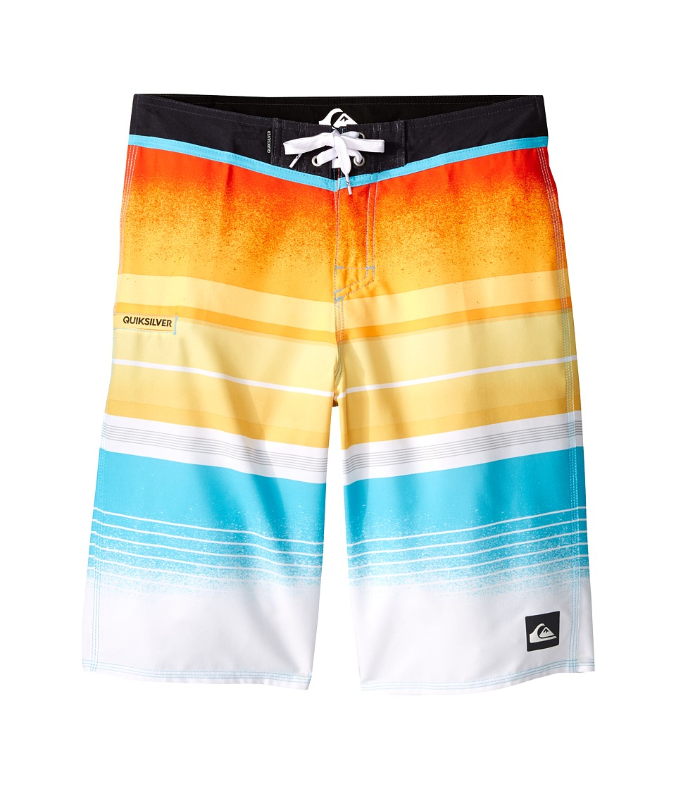 Quiksilver Kids - Everyday Stripe Trunks (Big Kids) (Shocking Orange) Boy's Swimwear