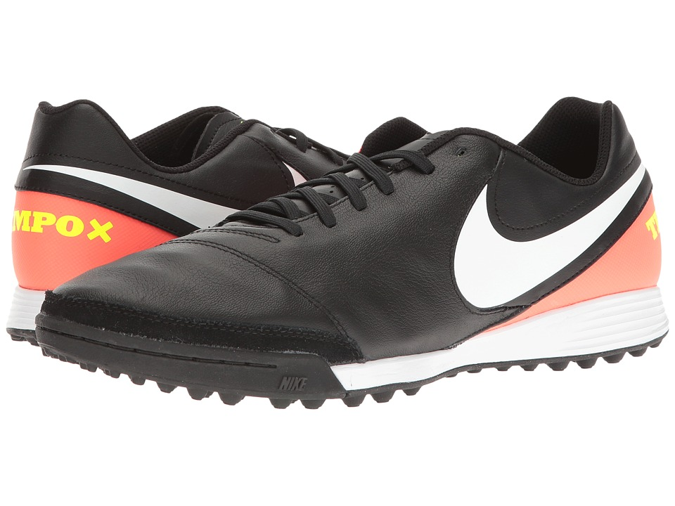 Nike - Tiempo Genio II Leather TF (Black/White/Hyper Orange/Volt) Men's Soccer Shoes