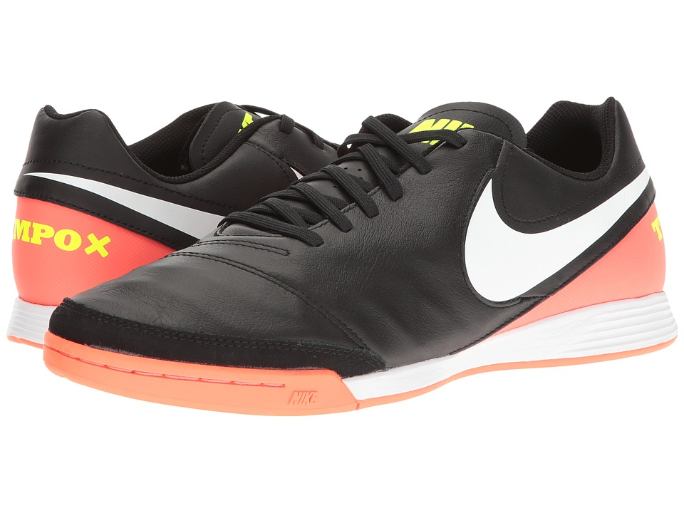 Nike - Tiempo Genio II Leather IC (Black/White/Hyper Orange/Volt) Men's Soccer Shoes