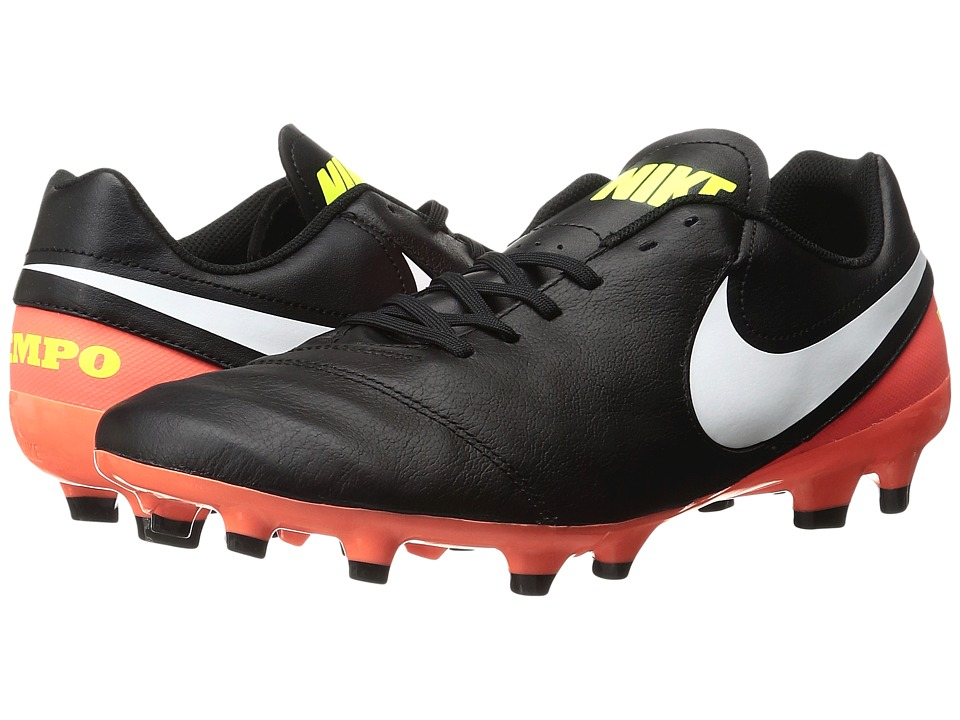 Nike - Tiempo Genio II Leather FG (Black/White/Hyper Orange/Volt) Men's Soccer Shoes