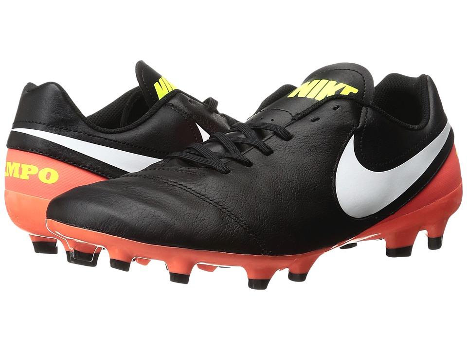 Nike - Tiempo Genio II Leather FG (Black/White/Hyper Orange/Volt) Men's Soccer Shoes