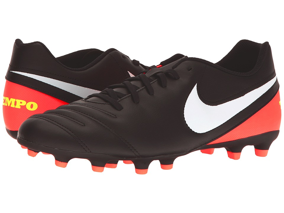 Nike - Tiempo Rio III FG (Black/White/Hyper Orange/Volt) Men's Soccer Shoes