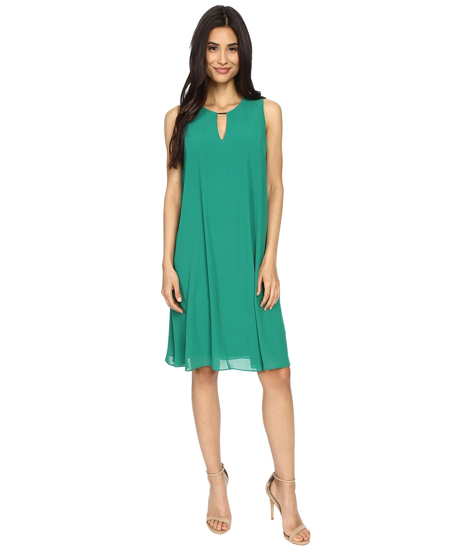 Vince Camuto - Sleeveless Float Dress with Keyhole (Emerald) Women's Dress