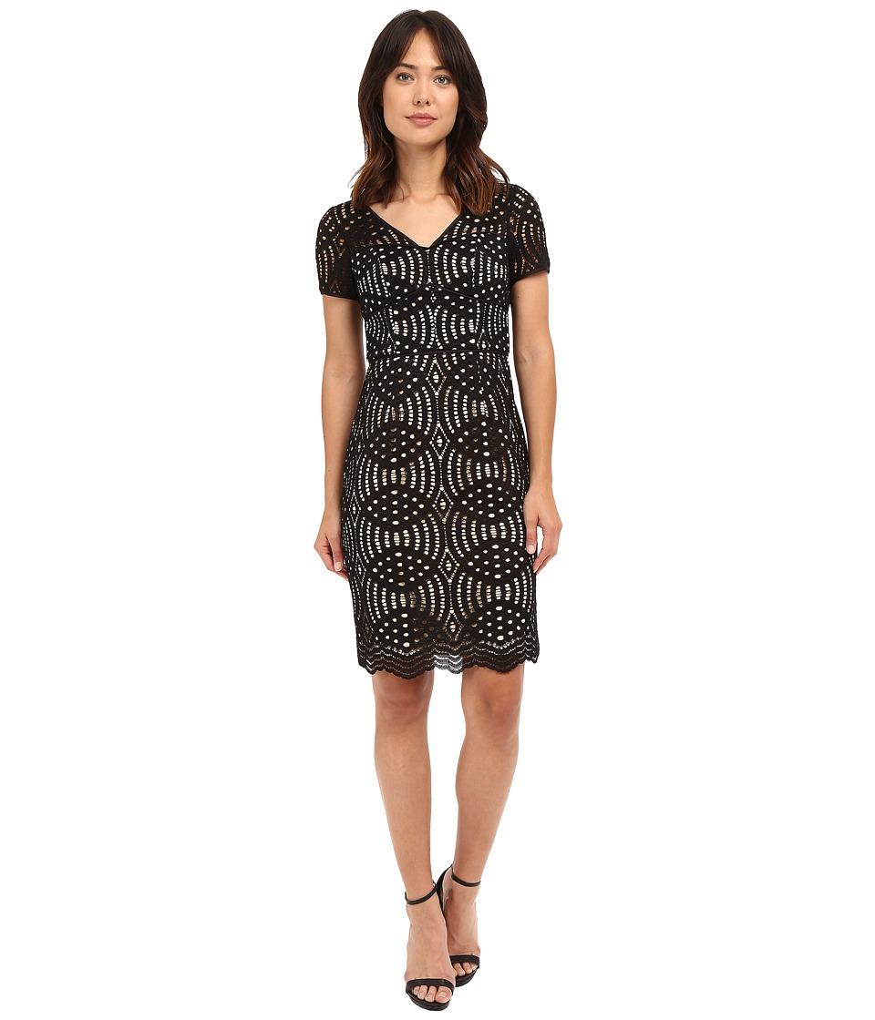 NUE by Shani Geometric Lace Dress (Black/Nude) Women