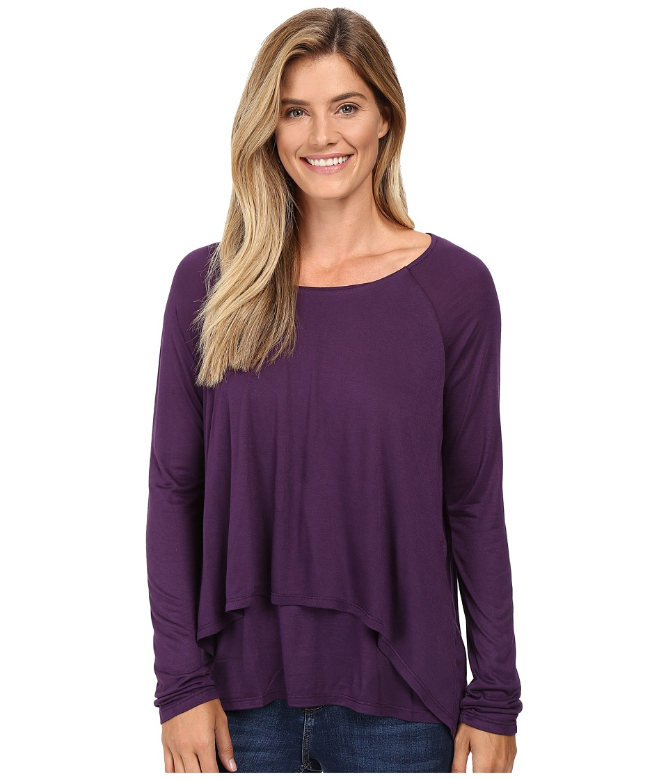 B Collection by Bobeau - Ada Layered Knit Top (Eggplant) Women's Long Sleeve Pullover