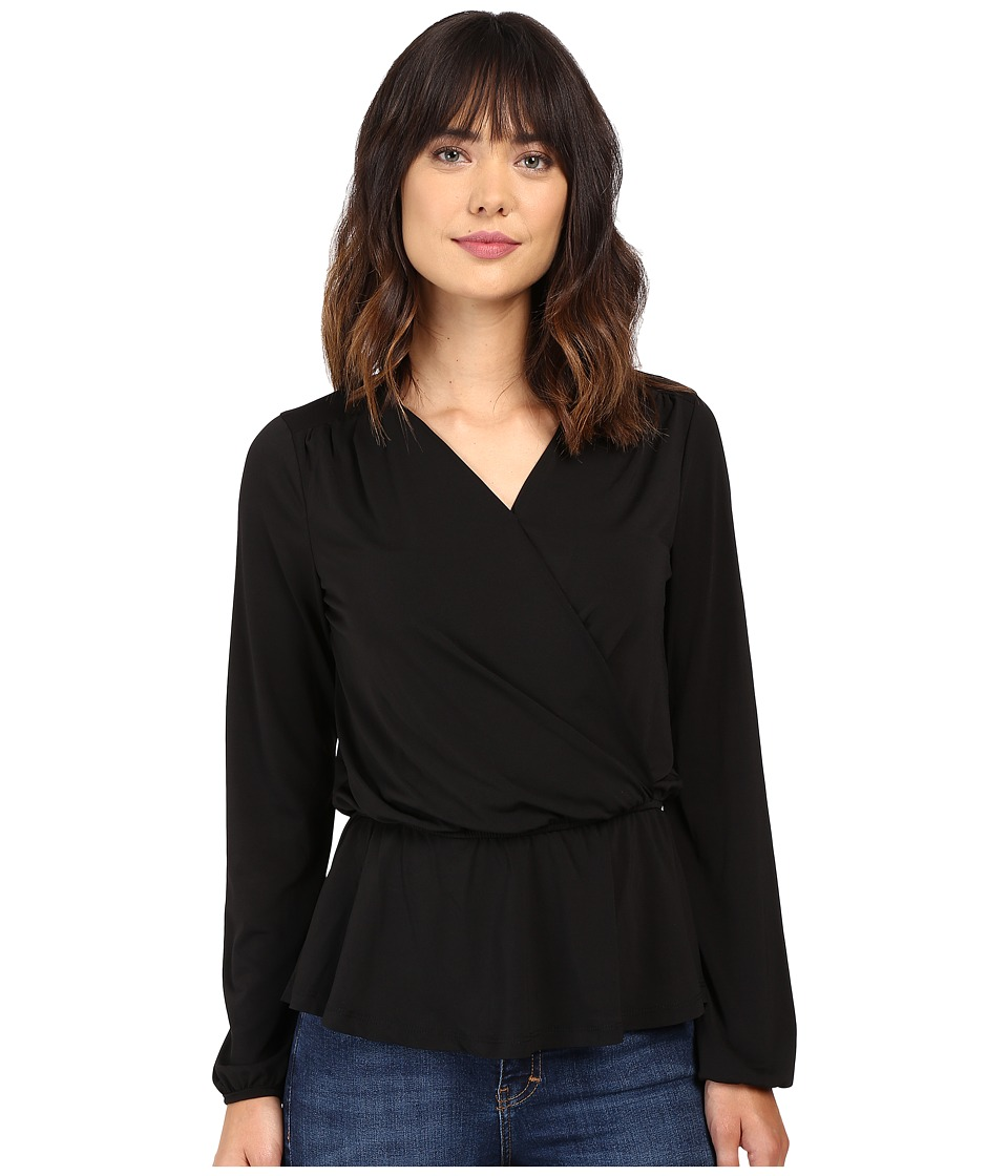 B Collection by Bobeau - Bella Side Tie Knit Blouse (Black) Women's Blouse