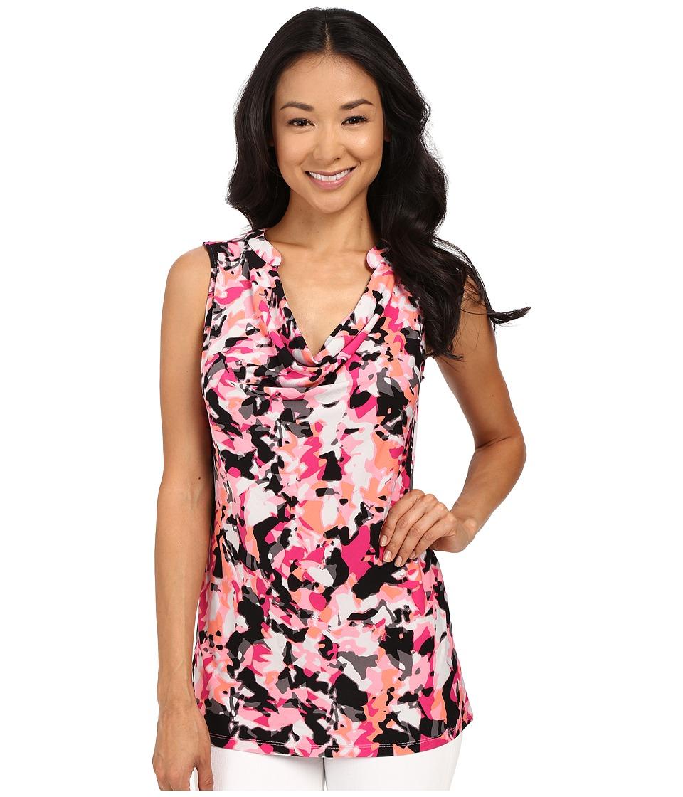 Ellen Tracy - Sleeveless Drape Neck Top (Blossom Multi) Women's Sleeveless