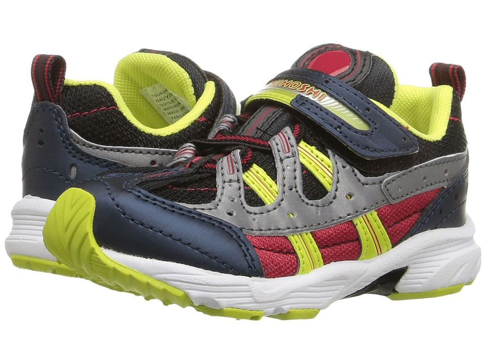 Tsukihoshi Kids - Speed (Toddler/Little Kid) (Navy/Lime) Boys Shoes