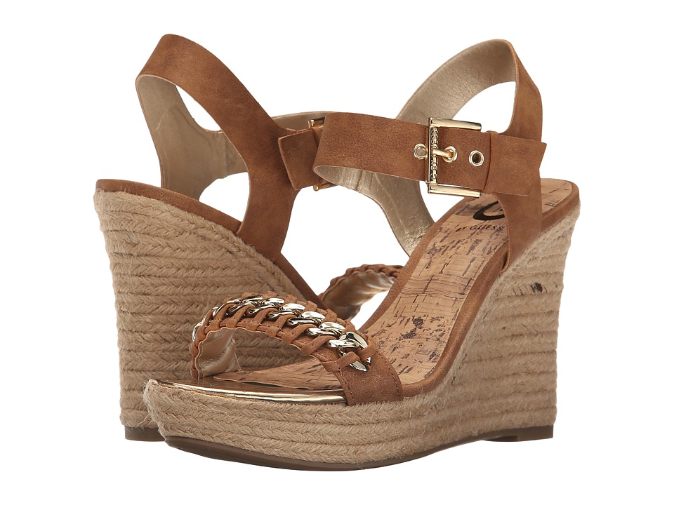 G by GUESS - Elliot (Caramel Distressed Suede) Women's Wedge Shoes