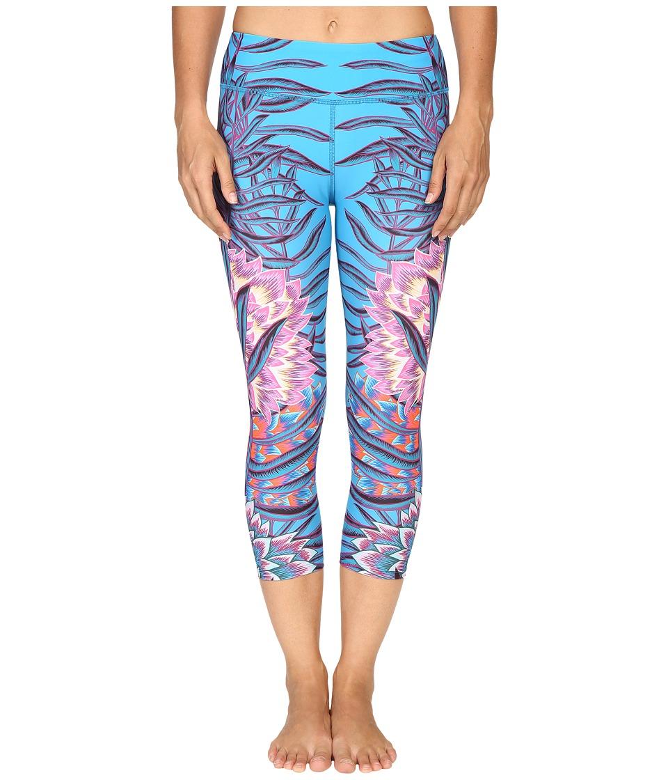 Mara Hoffman Floral Cropped Leggings (Aqua) Women's Casual Pants