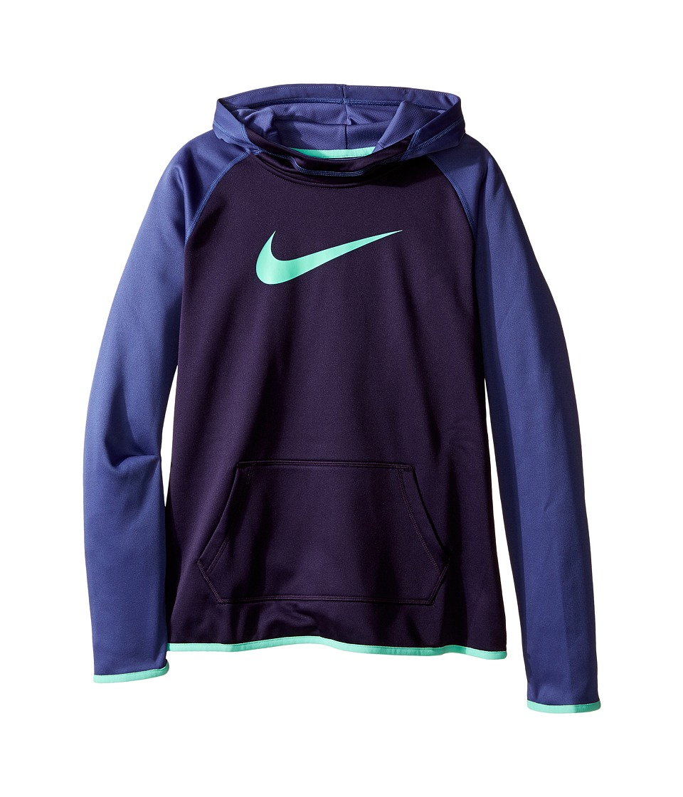 Nike Kids - Therma Training Hoodie (Little Kids/Big Kids) (Purple Dynasty/Dark Purple Dust/Green Glow) Girl's Sweatshirt