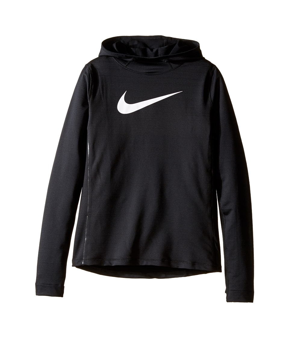 Nike Kids - Pro Hyperwarm Pullover Hoodie (Little Kids/Big Kids) (Black/Black/Black/White) Girl's Sweatshirt