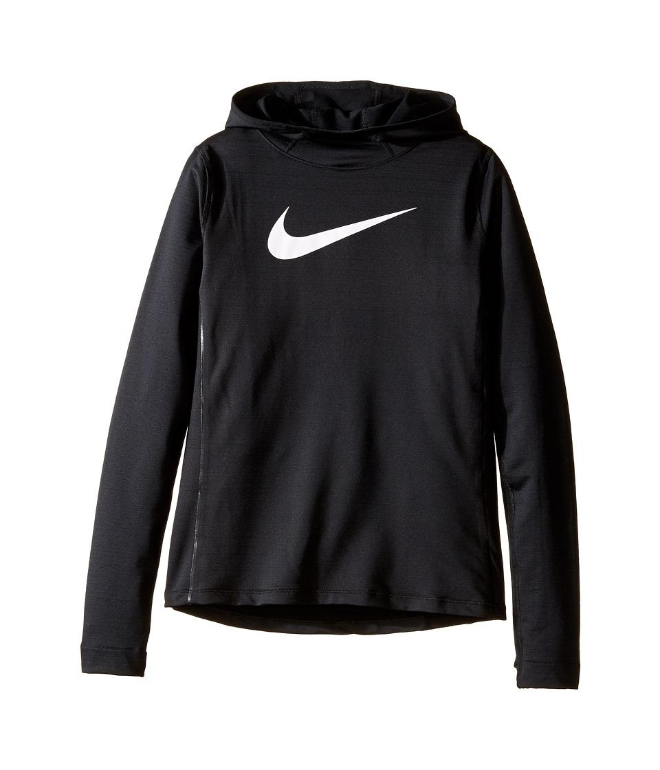 Nike Kids - Pro Hyperwarm Pullover Hoodie (Little Kids/Big Kids) (Black/Black/Black/White) Girl's Sweatshirt