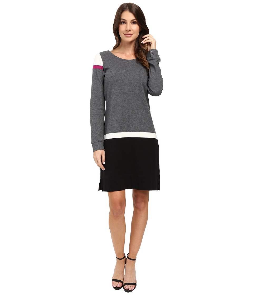 Hatley - Knit Zip - Back Dress (Charcoal Color Block) Women's Dress