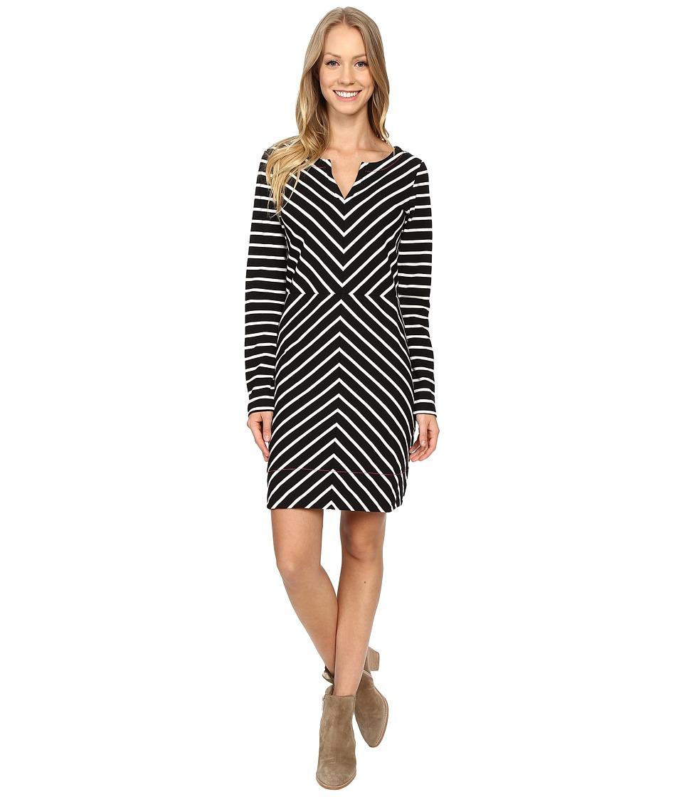 Hatley Long Sleeve Notch Neck Dress (Chevron Stripe) Women