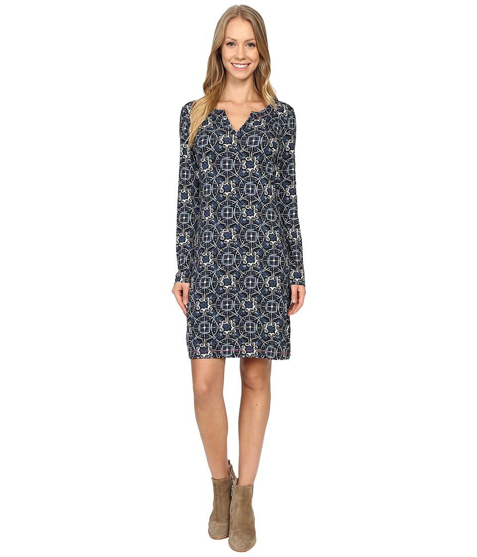 Hatley - Long Sleeve Notch Neck Dress (Black Morrocan) Women's Dress