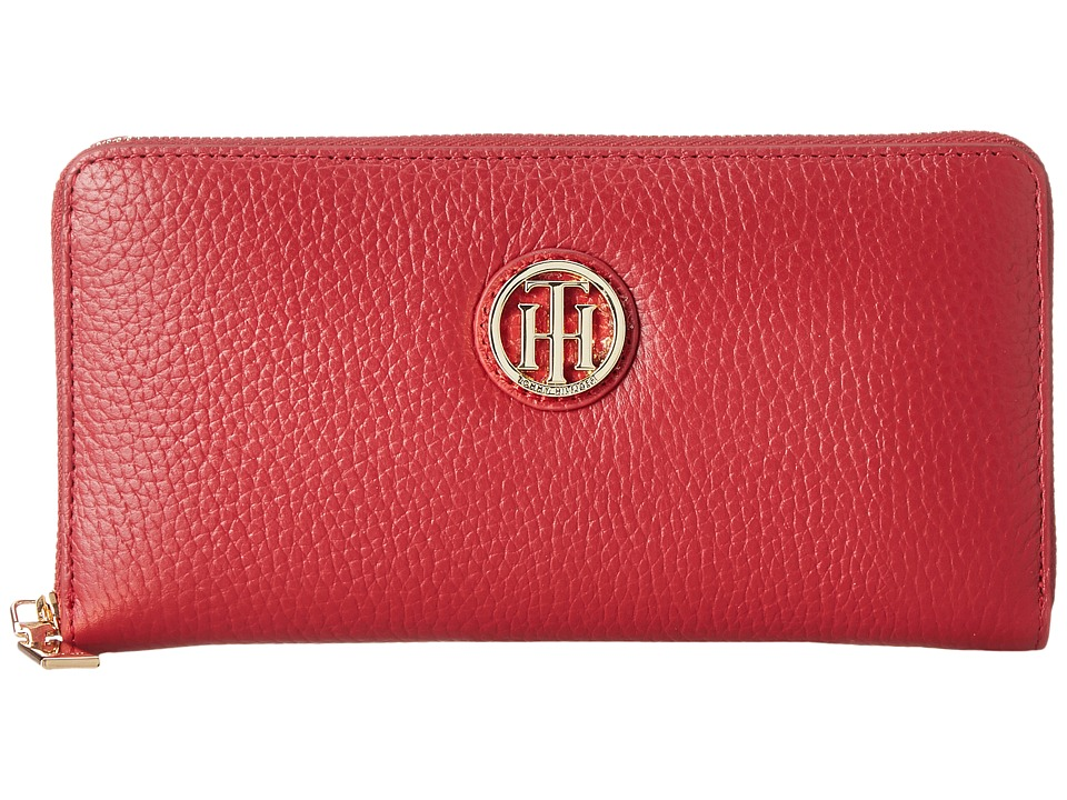 Tommy Hilfiger - Serif Signature - Large Zip Around Wallet (Tommy Red) Wallet Handbags