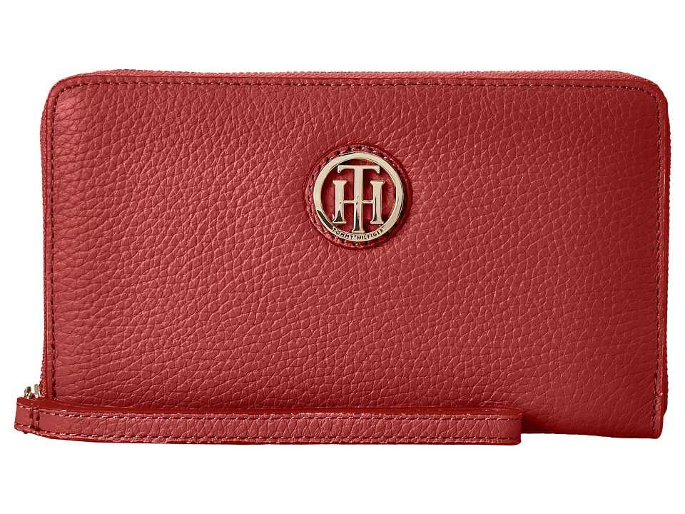 Tommy Hilfiger - TH Serif Signature - Carryall Wristlet (Tommy Red) Wristlet Handbags