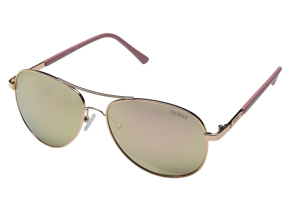 GUESS - GF0295 (Rose Gold/Rose Gold Mirror Lens) Fashion Sunglasses