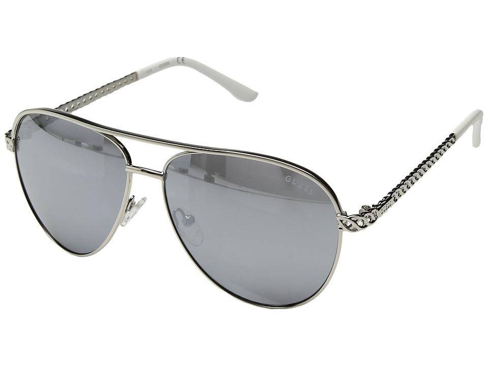 GUESS - GF0268 (Shiny Silver/Smoke Mirror Lens) Fashion Sunglasses