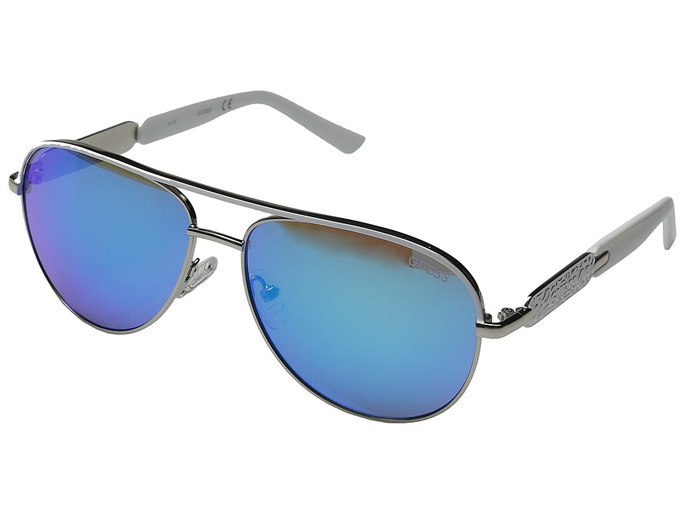 GUESS - GF0287 (Silver/Blue Mirror Lens) Fashion Sunglasses